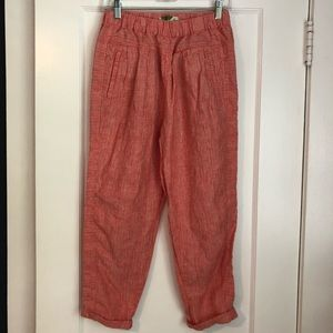 Anthropologie Striped Linen Pants Red Motif (XS)